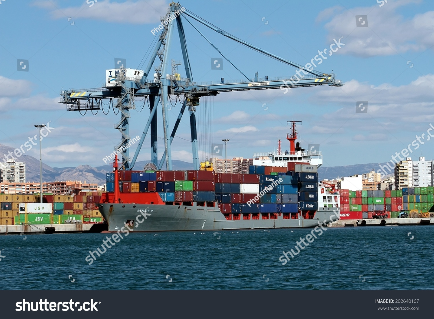 Alicante spain june 20 the container cargo vessel - Stock uno alicante ...