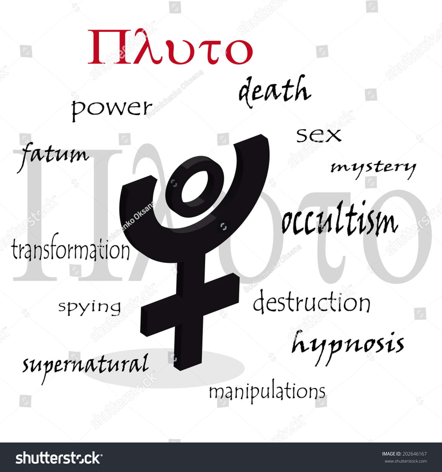 Pluto Astrological Symbol Characteristic Planet Stock Vector