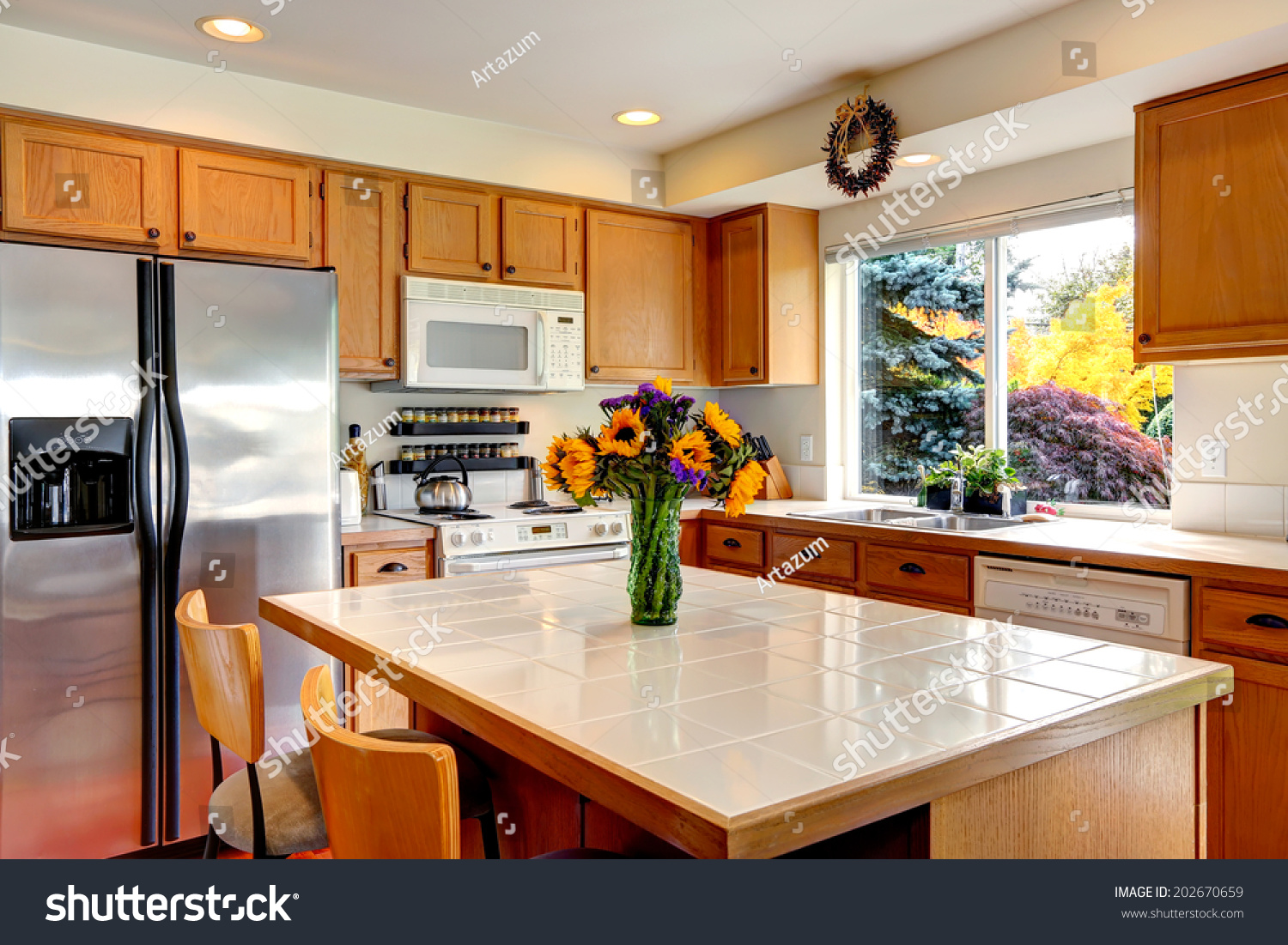 Cozy Kitchen Honey Color Cabinets White Stock Photo Edit Now 202670659