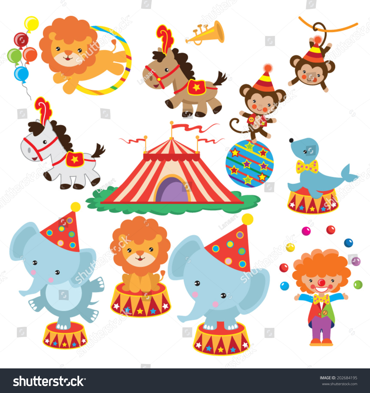 Circus Vector Illustration Stock Vector 202684195 - Shutterstock