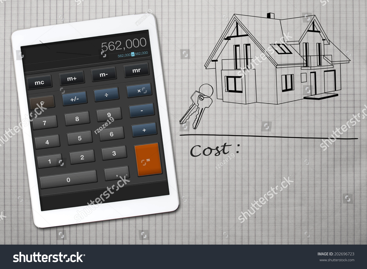 Home construction cost calculator stock photo 202696723 for Home building estimate calculator
