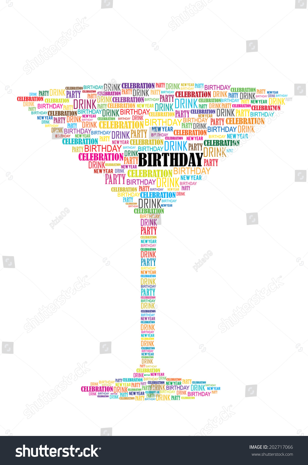 Vector birthday card wine glass made stock vector 202717066 vector birthday card with wine glass made of words bookmarktalkfo Image collections