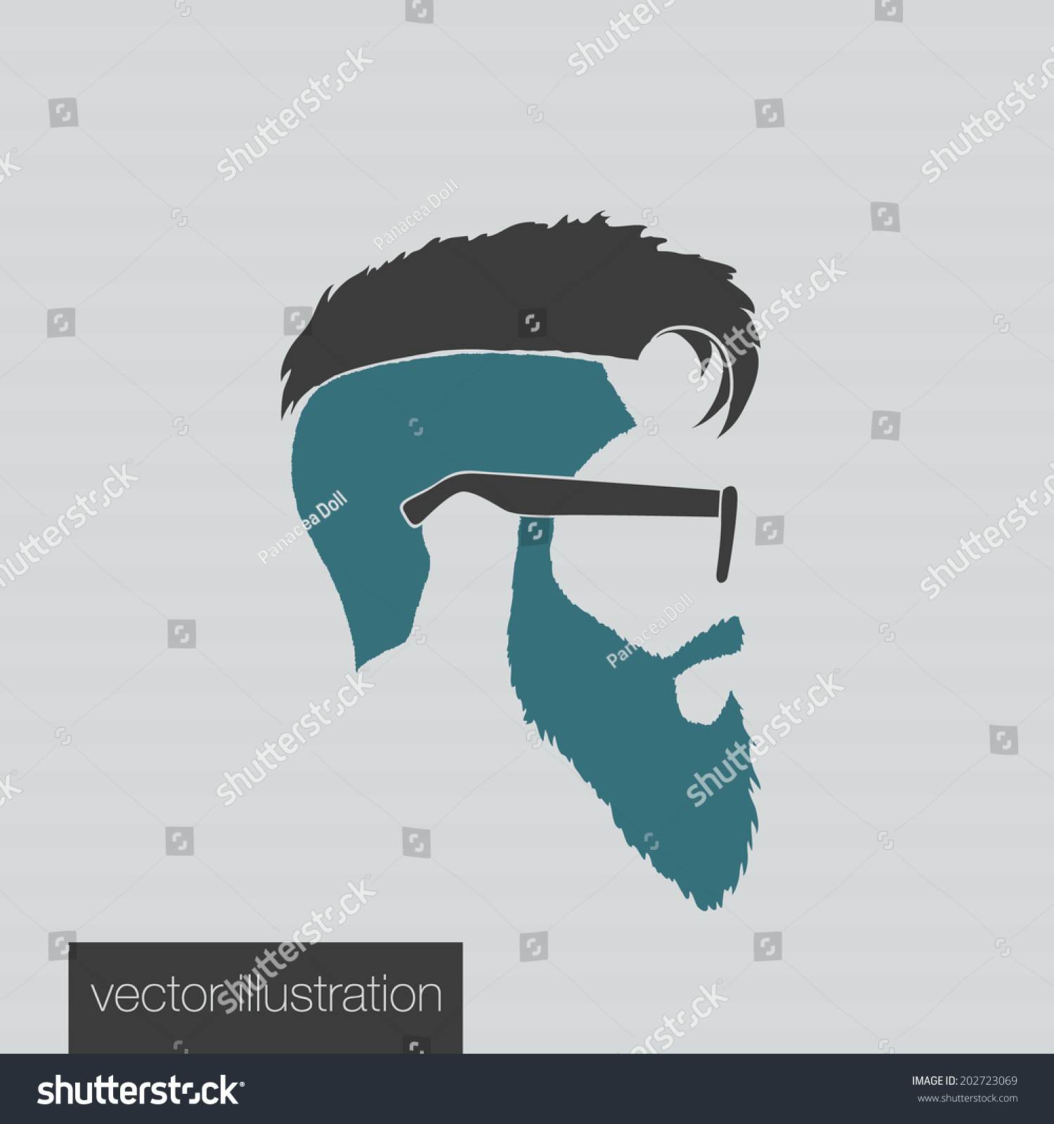 icons hairstyles beard mustache hipster profile stock