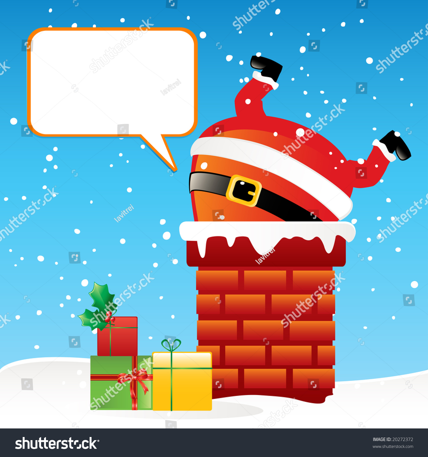 Funny Cartoon Santa Claus Got Stuck Stock Vector 20272372