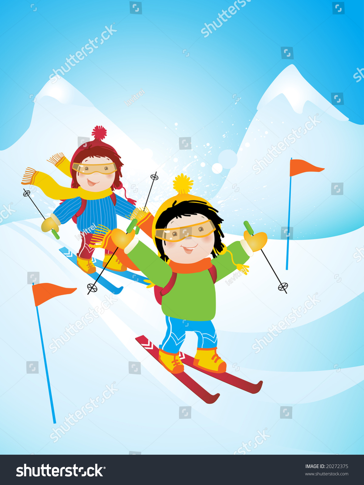 Children Winter Holiday Ski Competition Mountains Stock