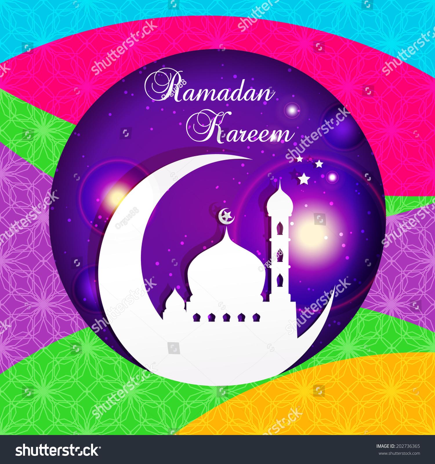 Ramadan kareem greeting card vector template stock vector 202736365 ramadan kareem greeting card vector template greeting card with mosque and crescent moon paper kristyandbryce Image collections