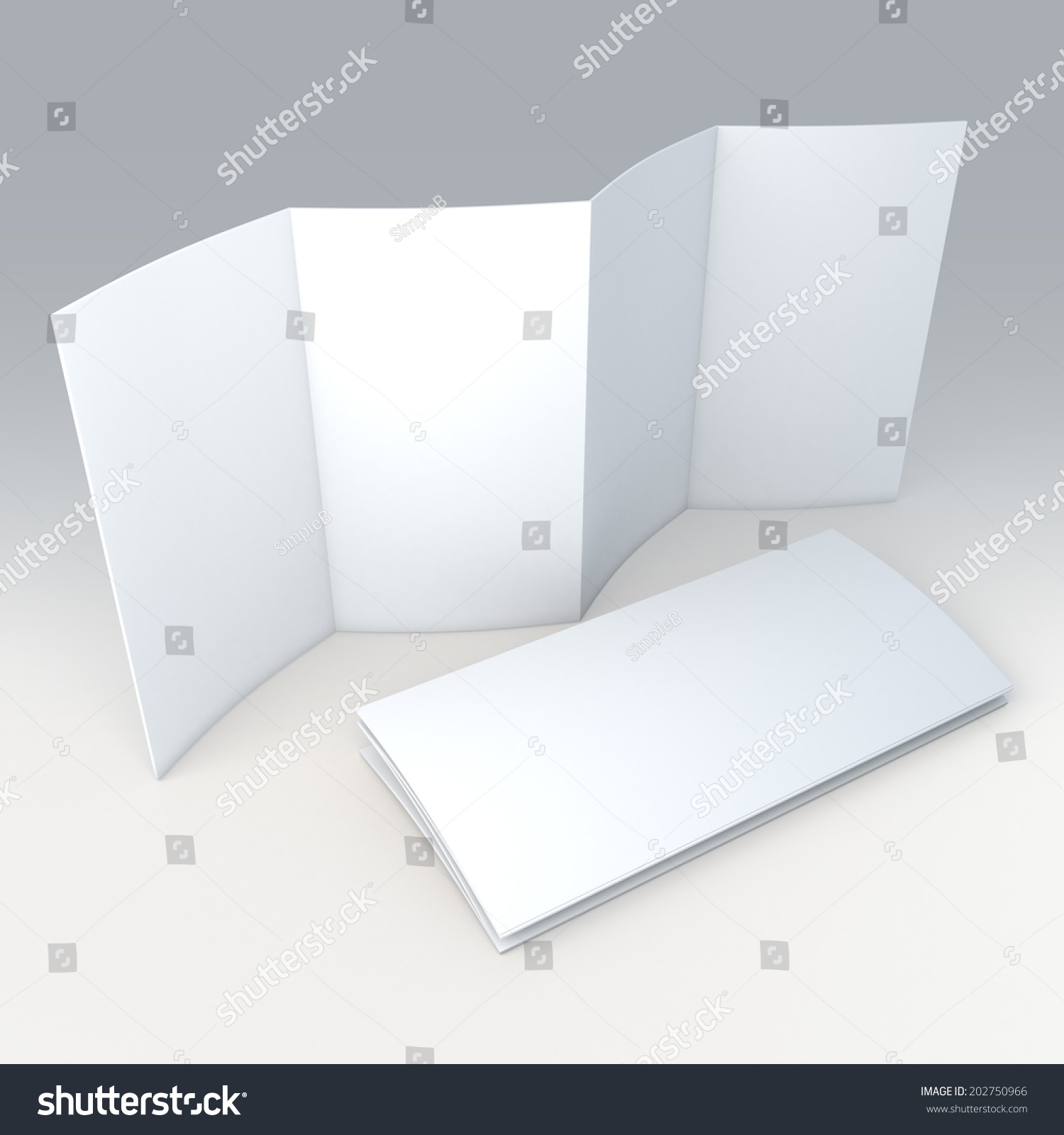 accordion fold brochure template - 3d clean white blank 8 pages stock illustration 202750966