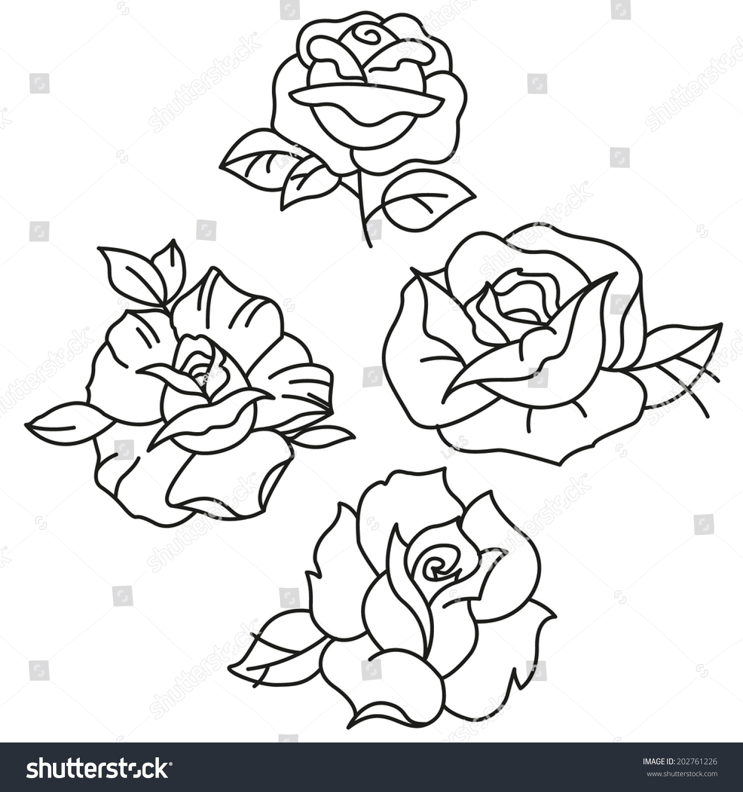 Traditional Tattoo Line Drawing : Traditional tattoo roses stock vector shutterstock