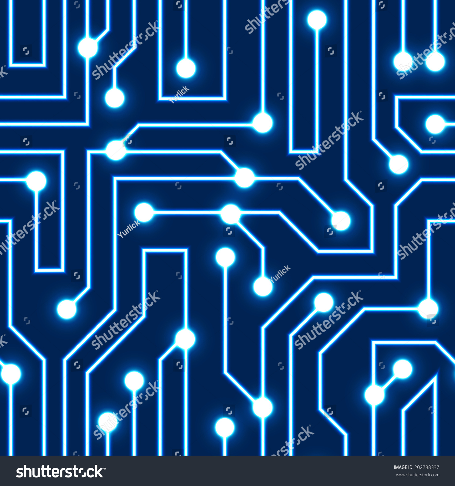 Vector Glowing Blue Circuit Board Background  Electrical