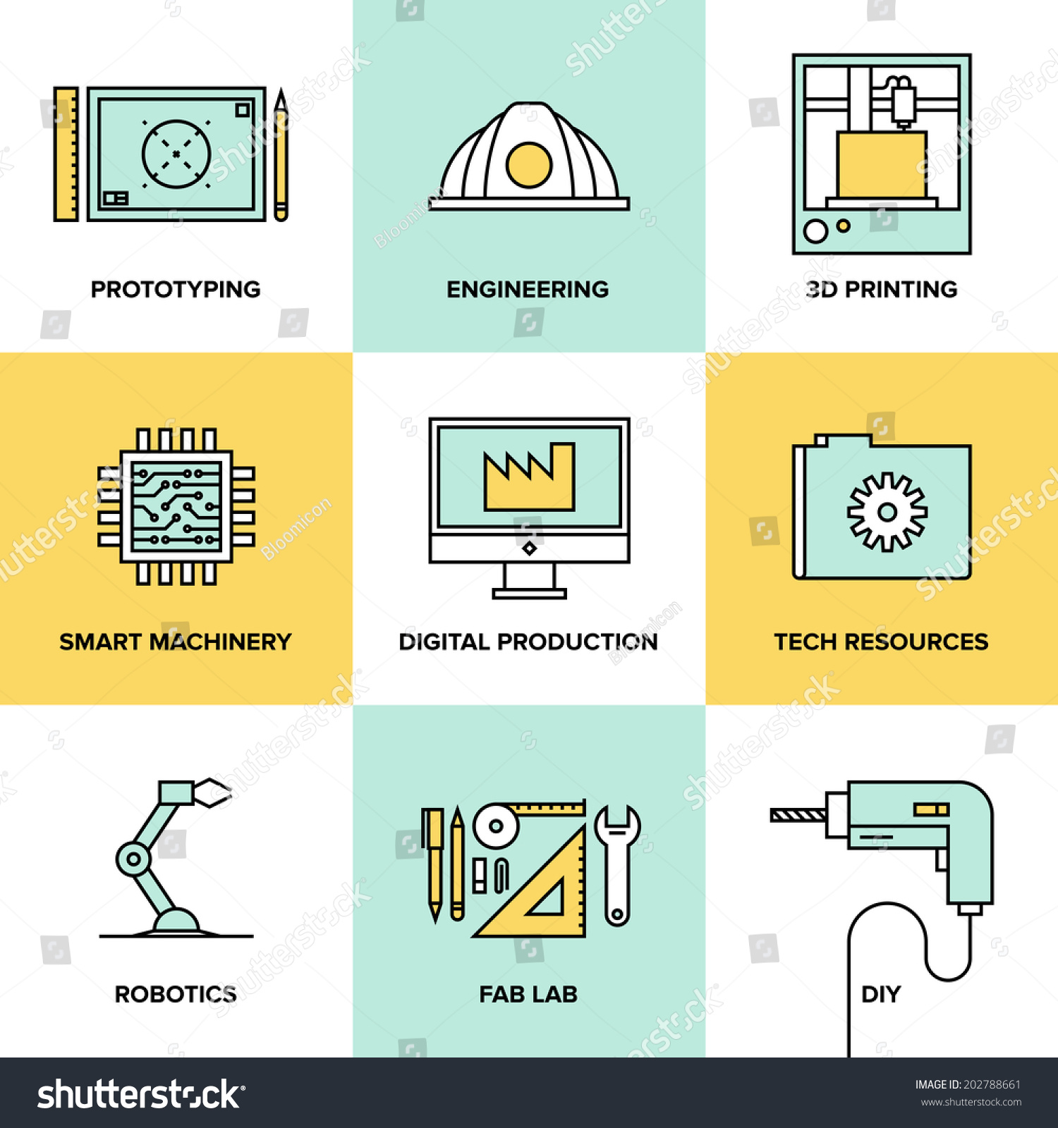 Flat Line Icons Set Industrial Technology Stock Vector ...  Flat Line Icons...