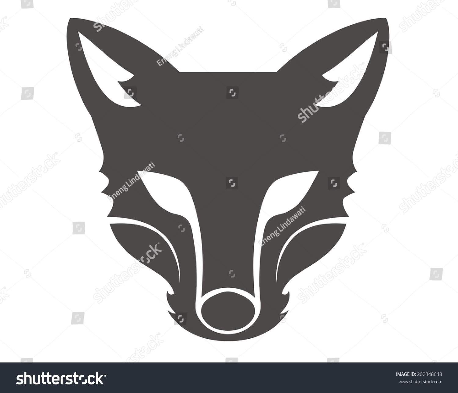 Fox Head Silhouette Stock Vector 202848643 - Shutterstock Raccoon Face Clip Art Black And White