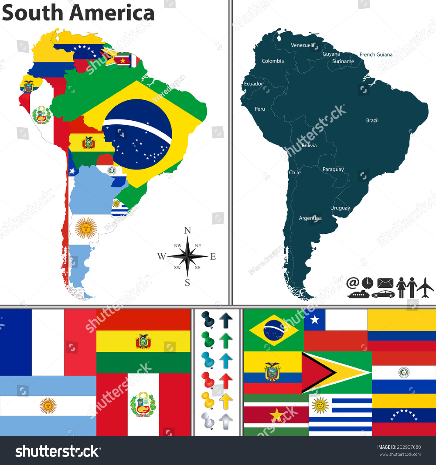 Vector map south america flags location vectores en stock 202907680 vector map of south america with flags and location on world map gumiabroncs Choice Image