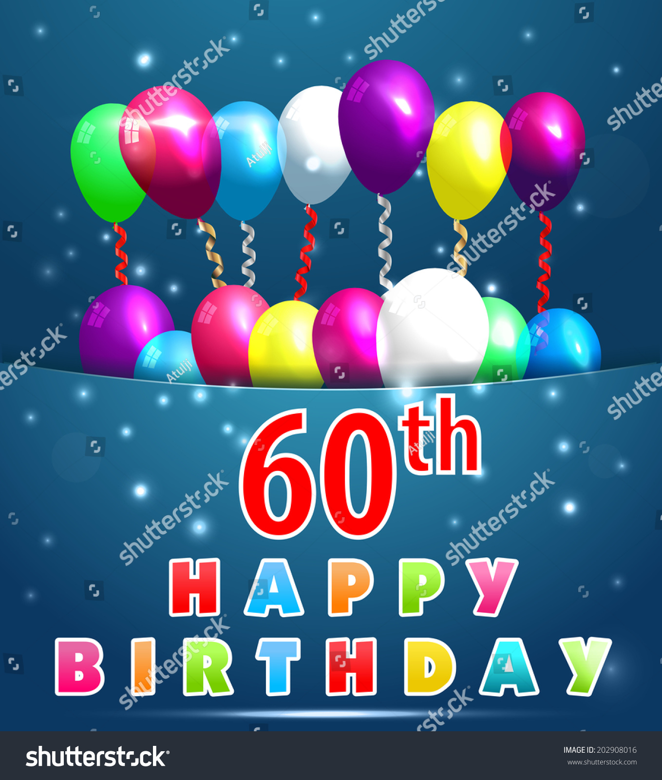 60 Year Happy Birthday Card Balloons Vector 202908016 – Happy 60th Birthday Greetings
