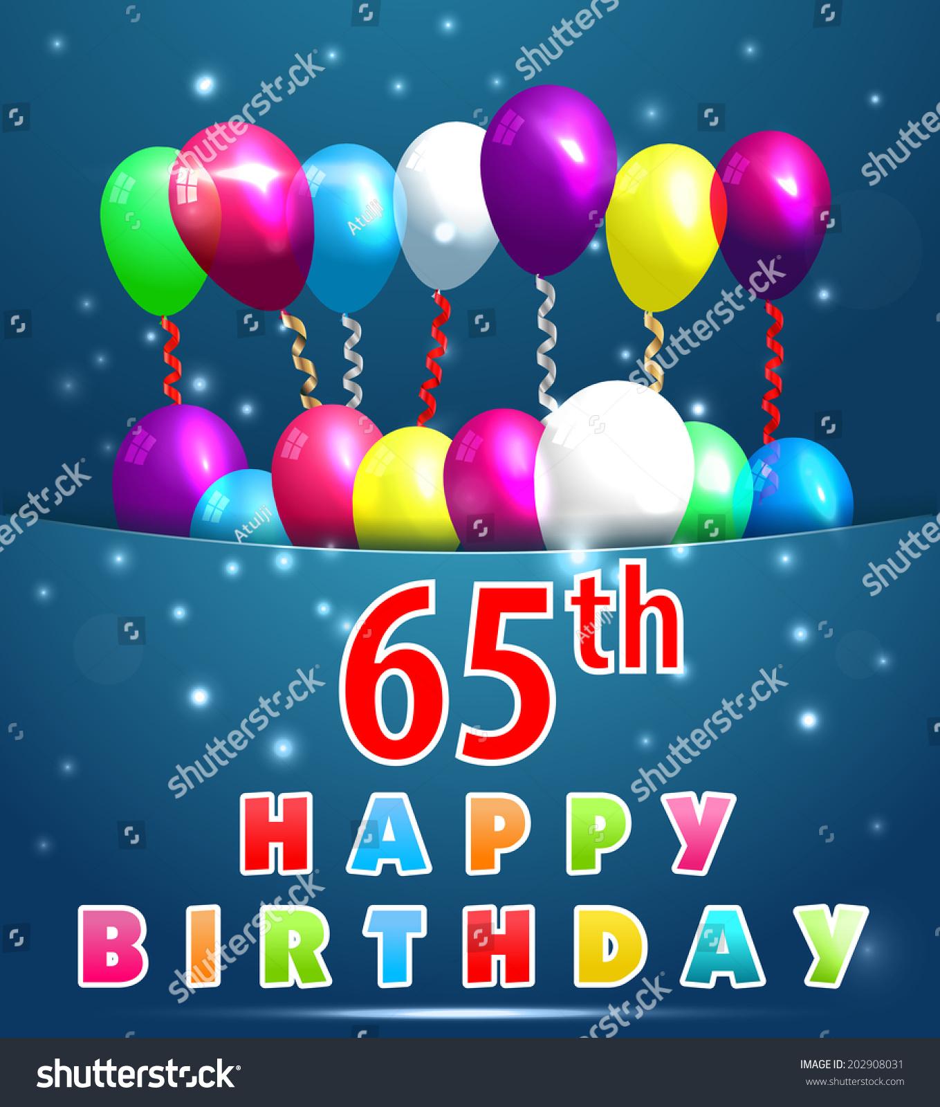 65 Year Happy Birthday Card Balloons Vector 202908031 – Mum 65th Birthday Card