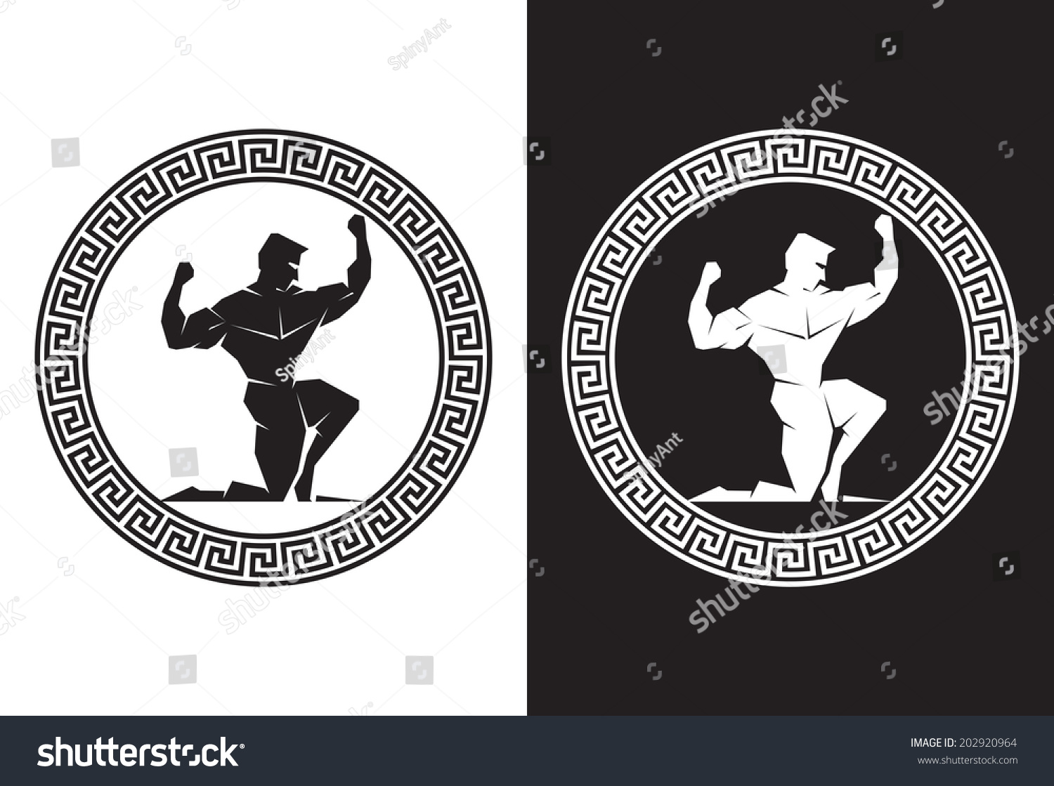 Hercules inside greek key front view stock vector 202920964 hercules inside a greek key front view buycottarizona Images