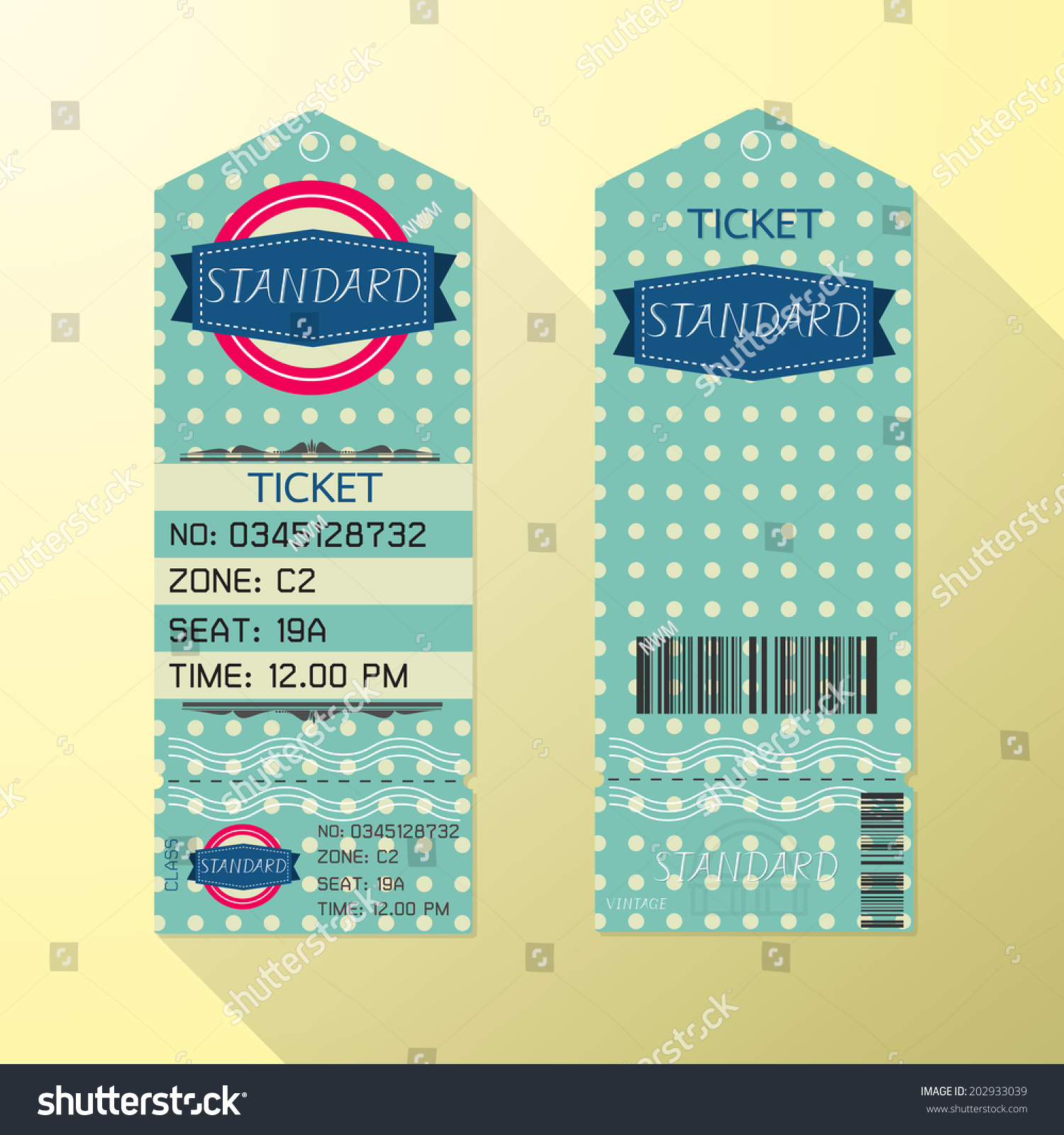 Ticket Design Template Retro Style Standard Class Vector – Ticket Design Template