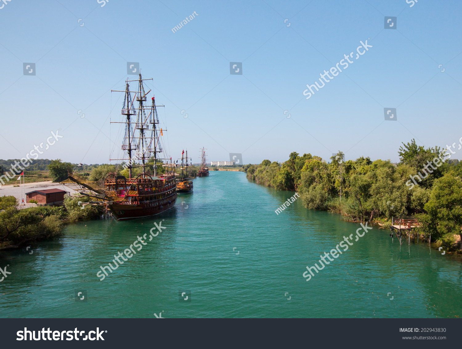 Manavgat Turkey  city photo : MANAVGAT TURKEY JULY 01: Pirate ship on the water of Manavgat river ...
