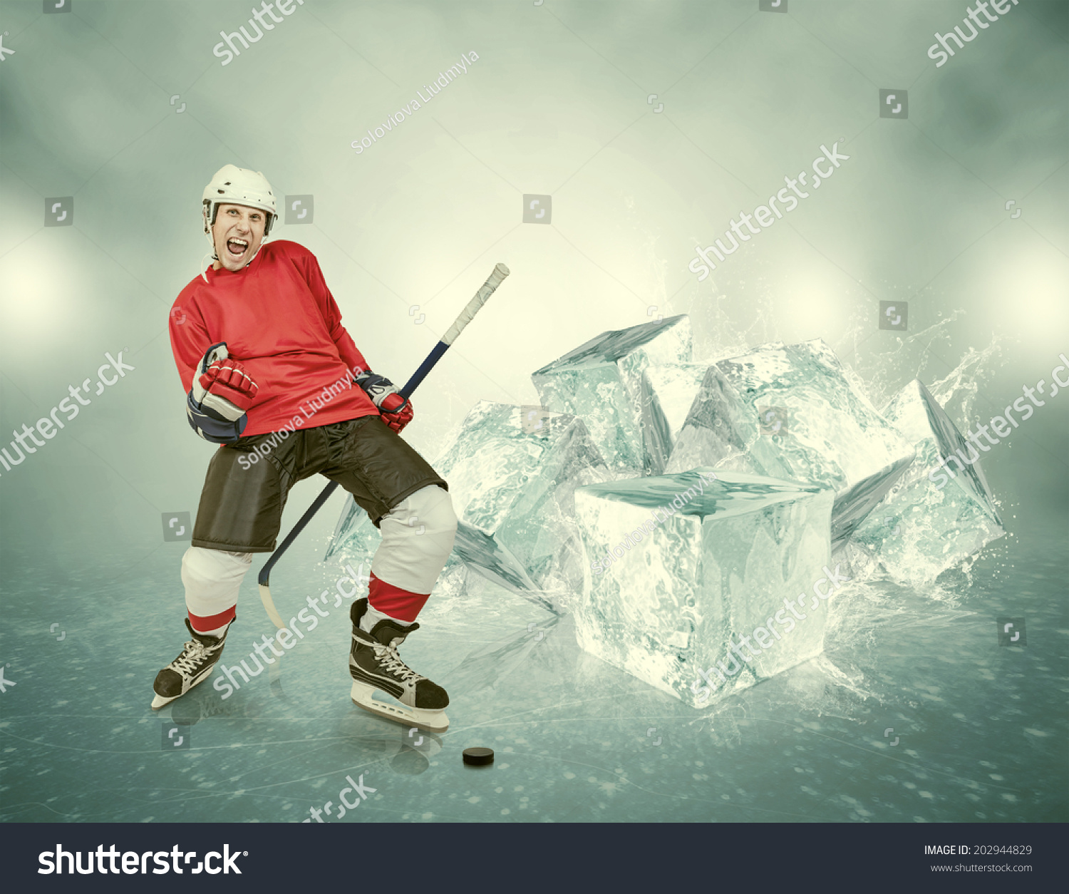 Screaming Hockey Player On Abstract Ice Stock Photo
