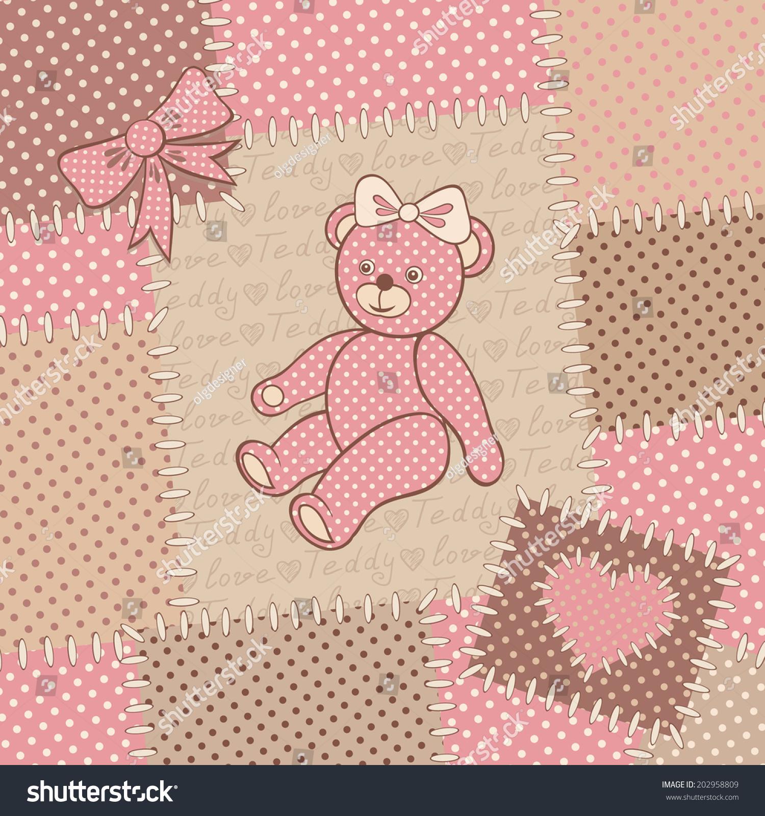 Vintage Greeting Card Teddy Bear Cute Stock Vector (Royalty