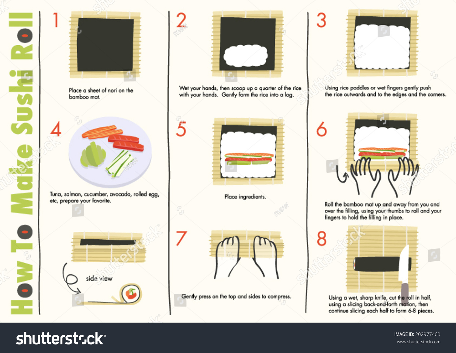 How make sushi rolls making sushi stock vector 202977460 for How to make online art