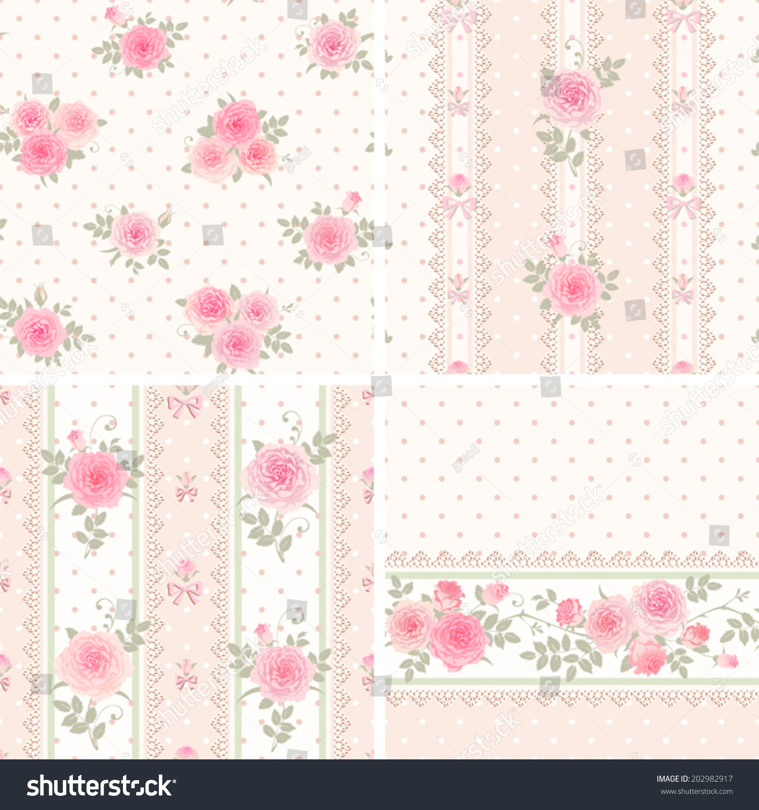 Seamless Floral Background And Borders Set Of Shabby Chic Style Patterns With Roses