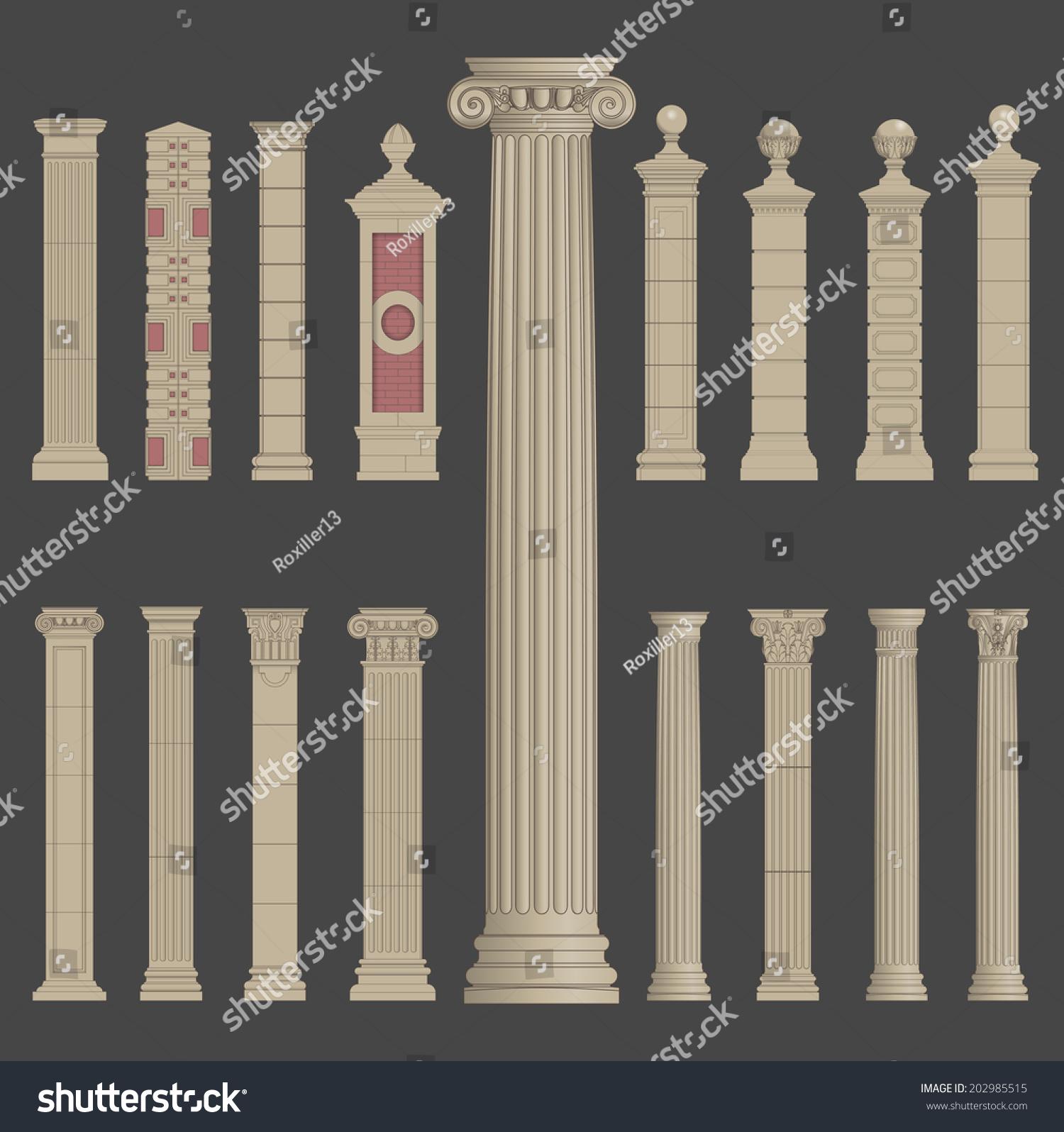 Greek Architecture Columns pillar column antique ancient old roman stock vector 202985515