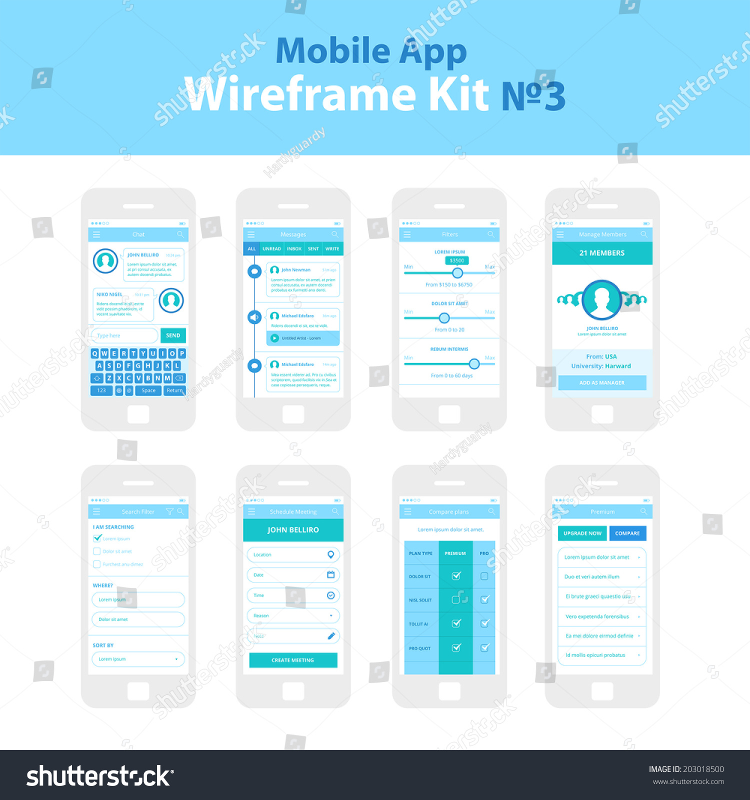 Home Design App Free Download: Mobile App Wireframe Ui Kit 3 Stock Vector 203018500