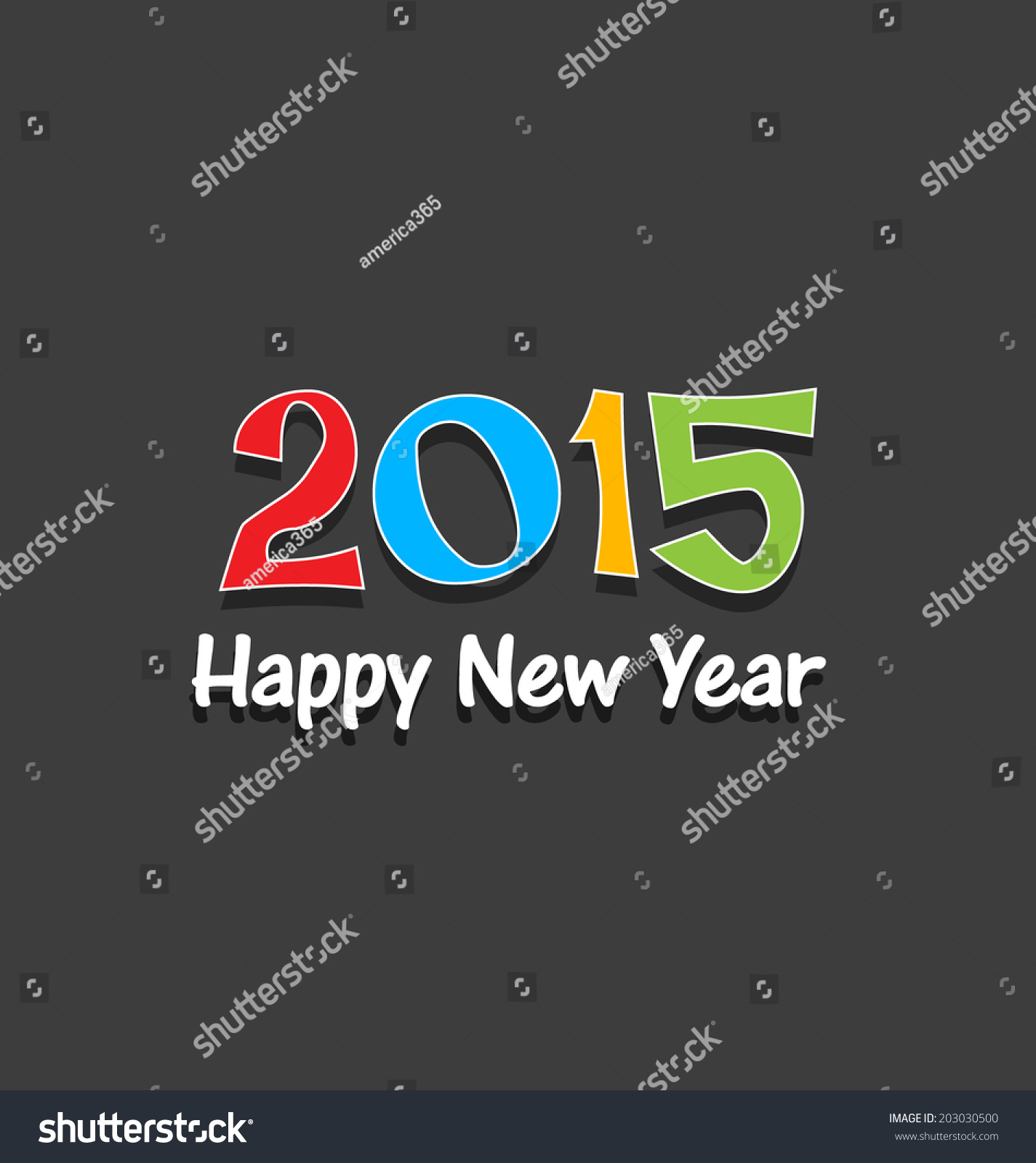 Happy New Year 2015 Greeting Card Stock Vector 203030500 Shutterstock