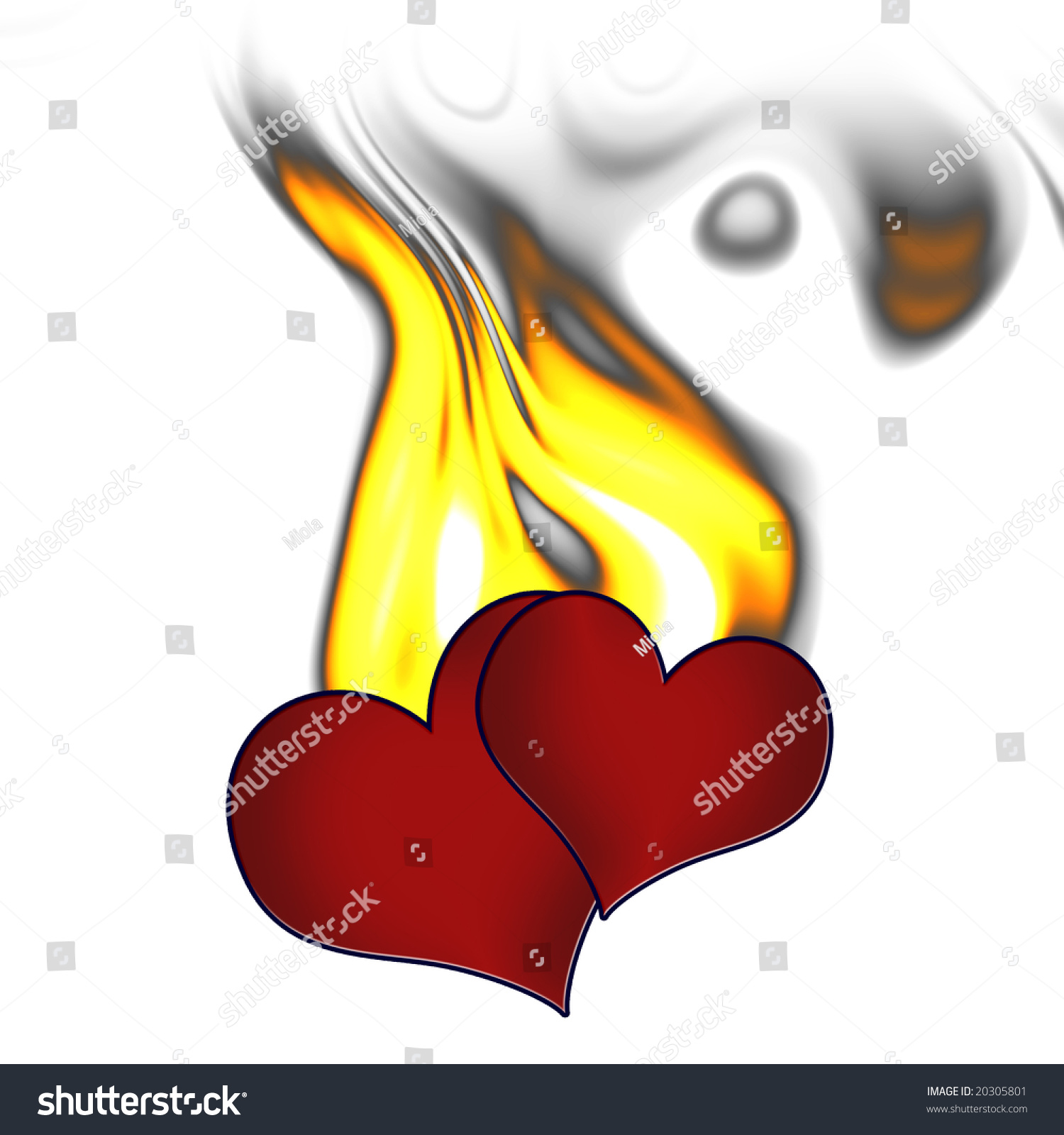 Two Hearts Fire Symbol Passion Love Stock Illustration 20305801