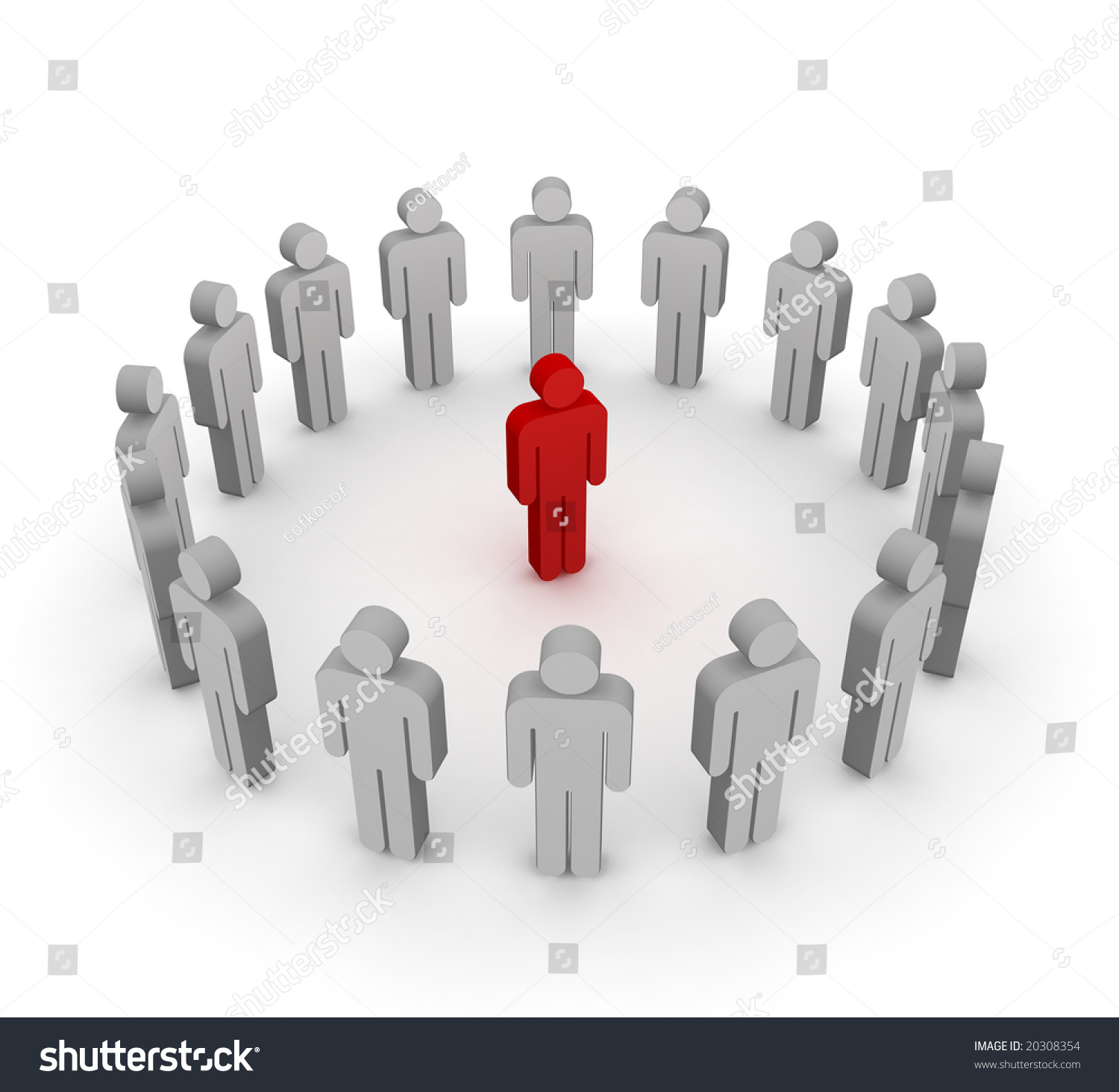 Red Stick Figure Standing Circle Gray Stock Illustration 20308354