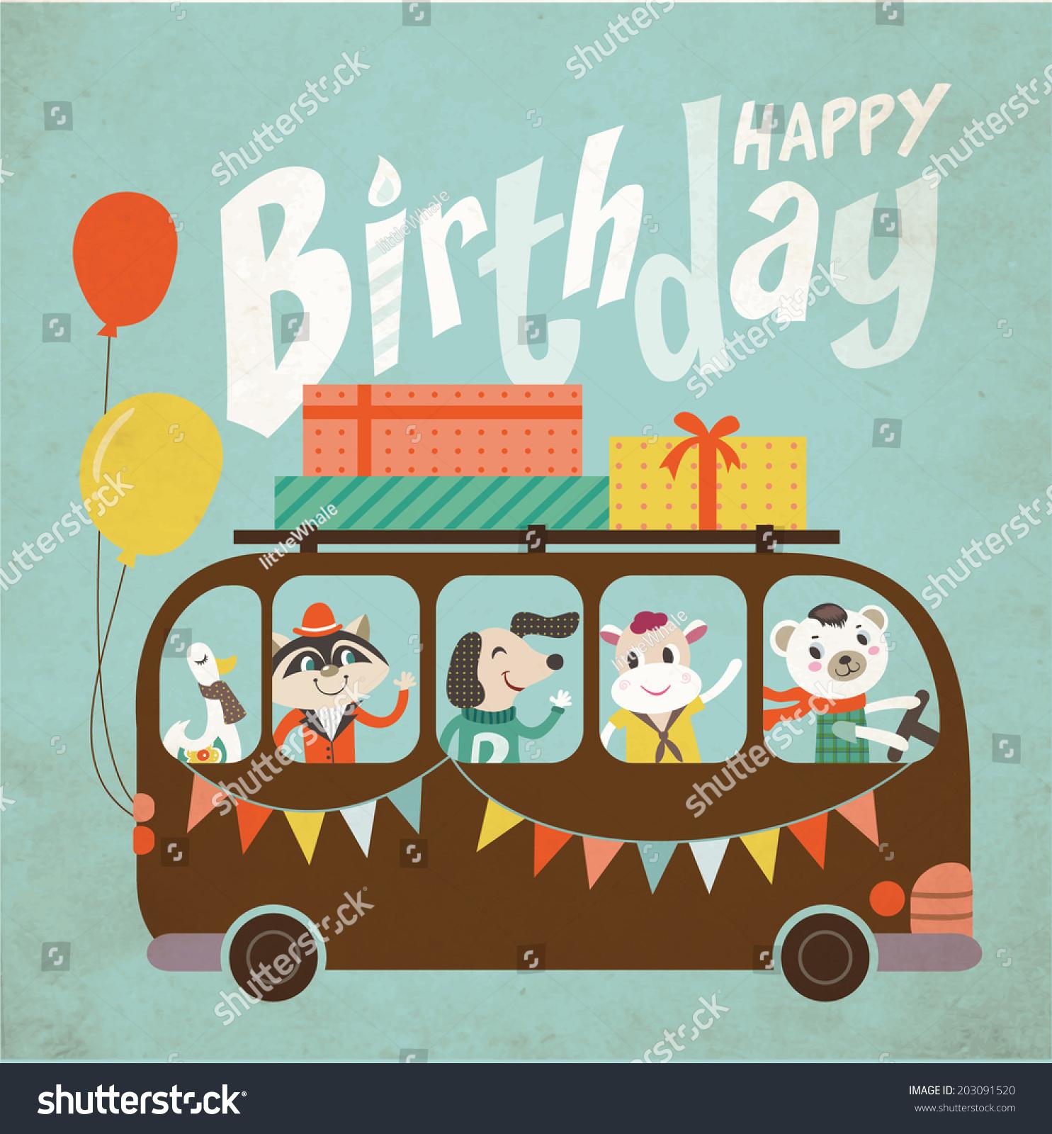 vintage birthday card stock vector   shutterstock, Birthday card