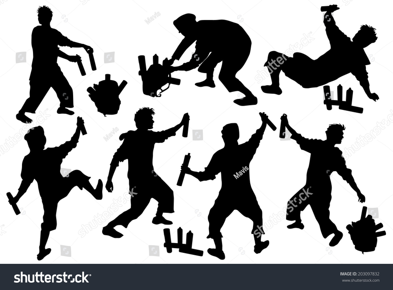 Silhouettes Tagger Backpack Sprays Stock Vector 203097832 ...