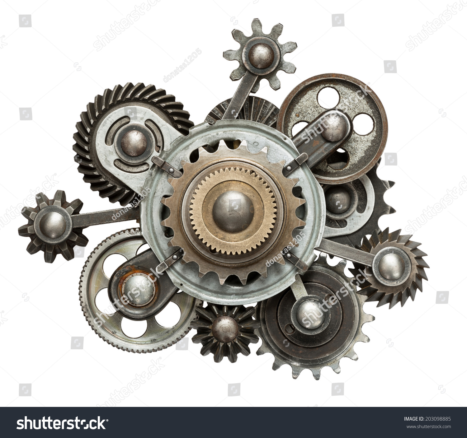 stylized mechanical collage made metal gears stock photo 203098885