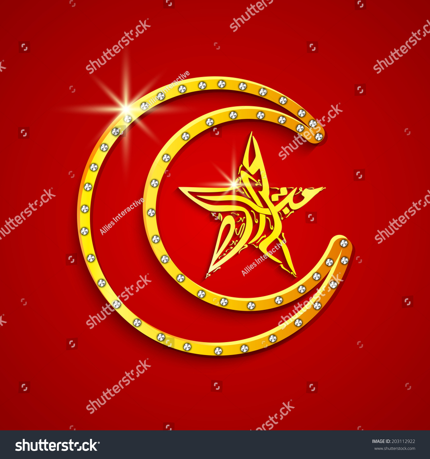 Golden crescent moon arabic islamic calligraphy stock vector golden crescent moon with arabic islamic calligraphy of text eid mubarak in star shape on red biocorpaavc Gallery