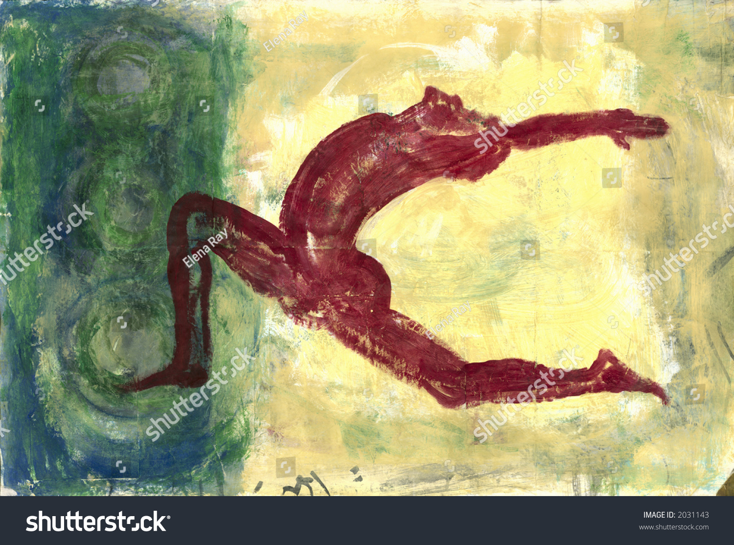 Abstract painting of an iconic red man doing a yoga backbend