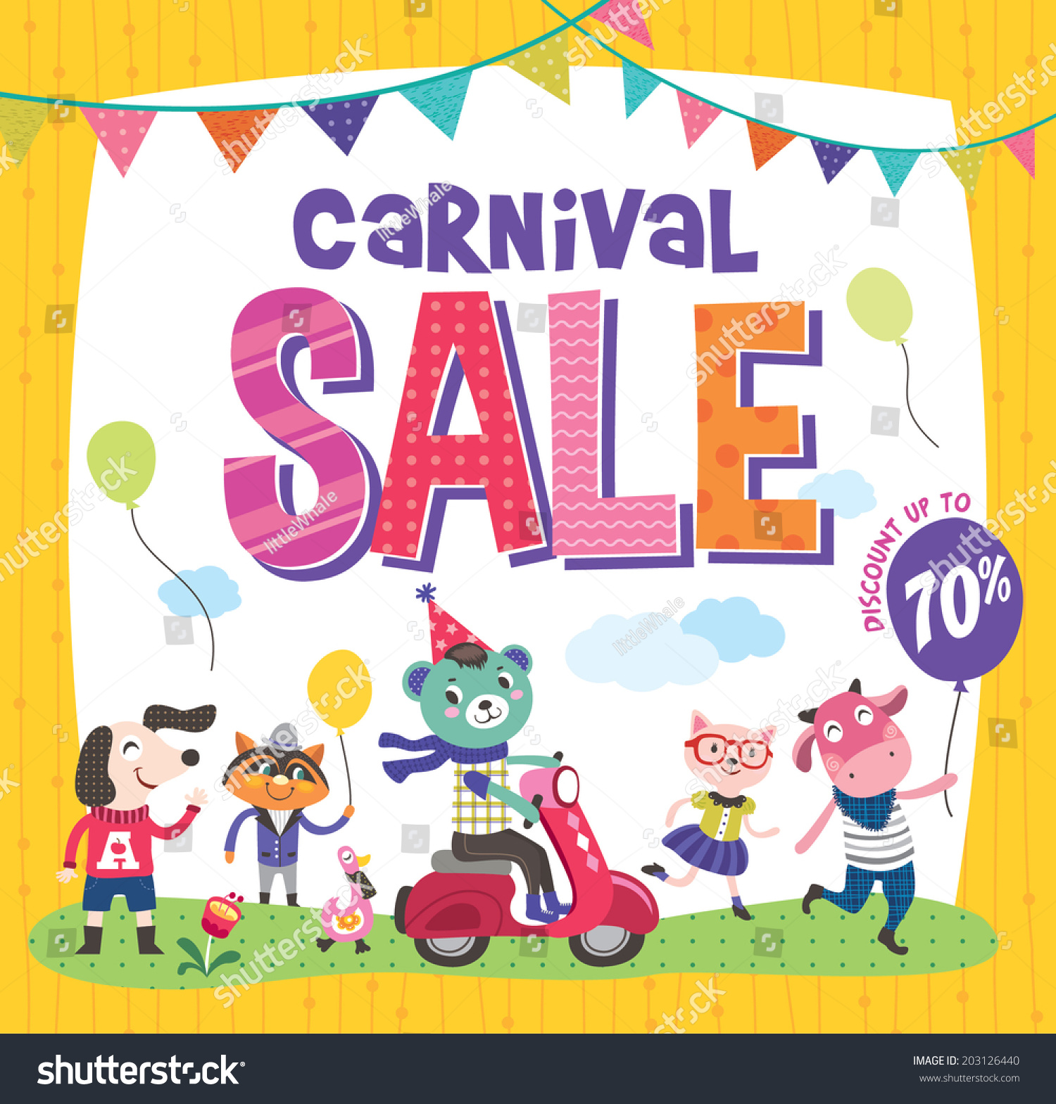 Carnival Sale >> Carnival Sale Poster Cute Animals Stock Vector 203126440