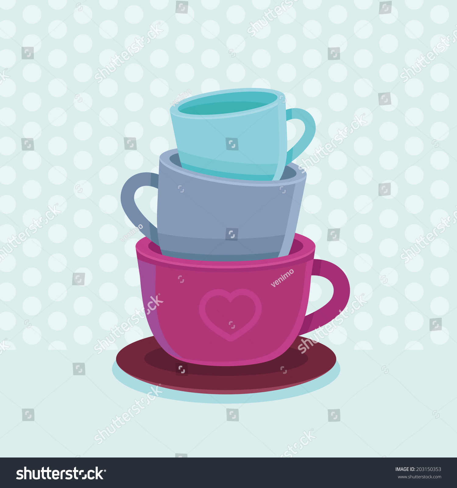 Vector Stack Coffee Mugs Cups Tea Stock Vector Shutterstock