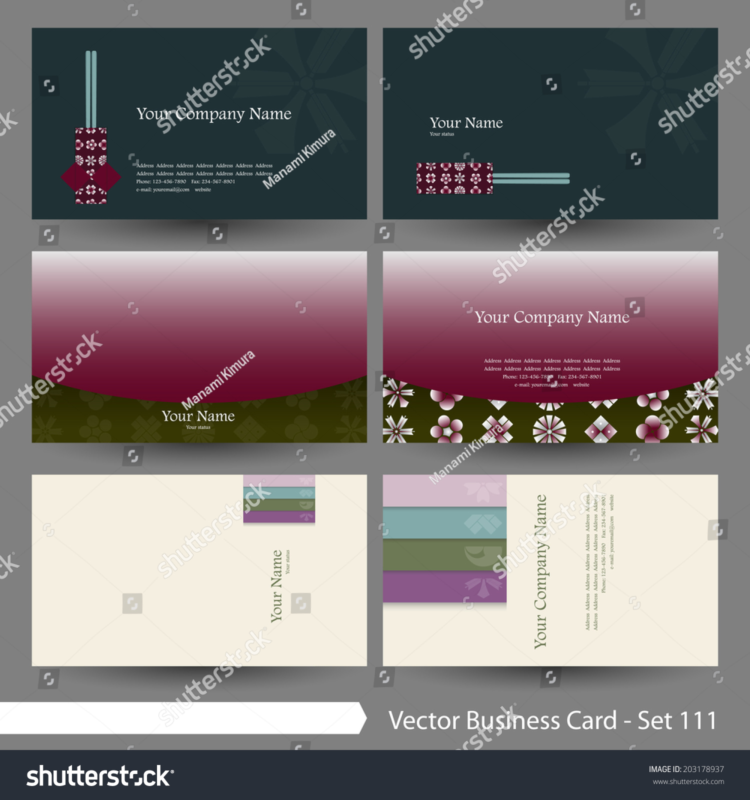 vector business card template set japanese stock vector 203178937