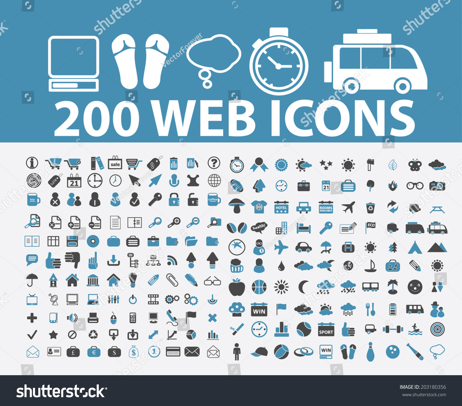 200 Web Internet Marketing Icons Signs Stock Vector ...