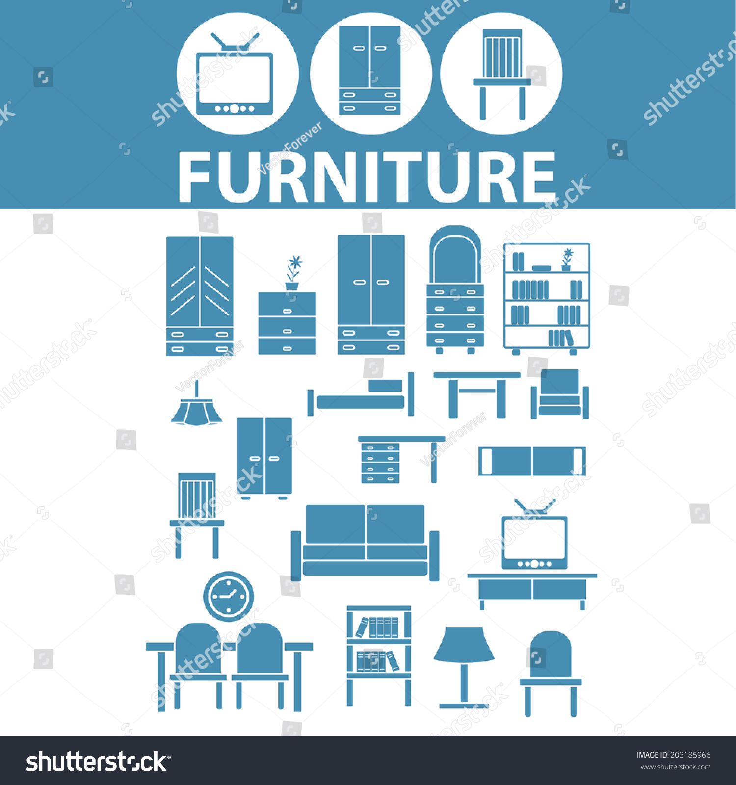 Interior Design Furniture Symbols ~ Furniture interior design icons signs symbols stock vector