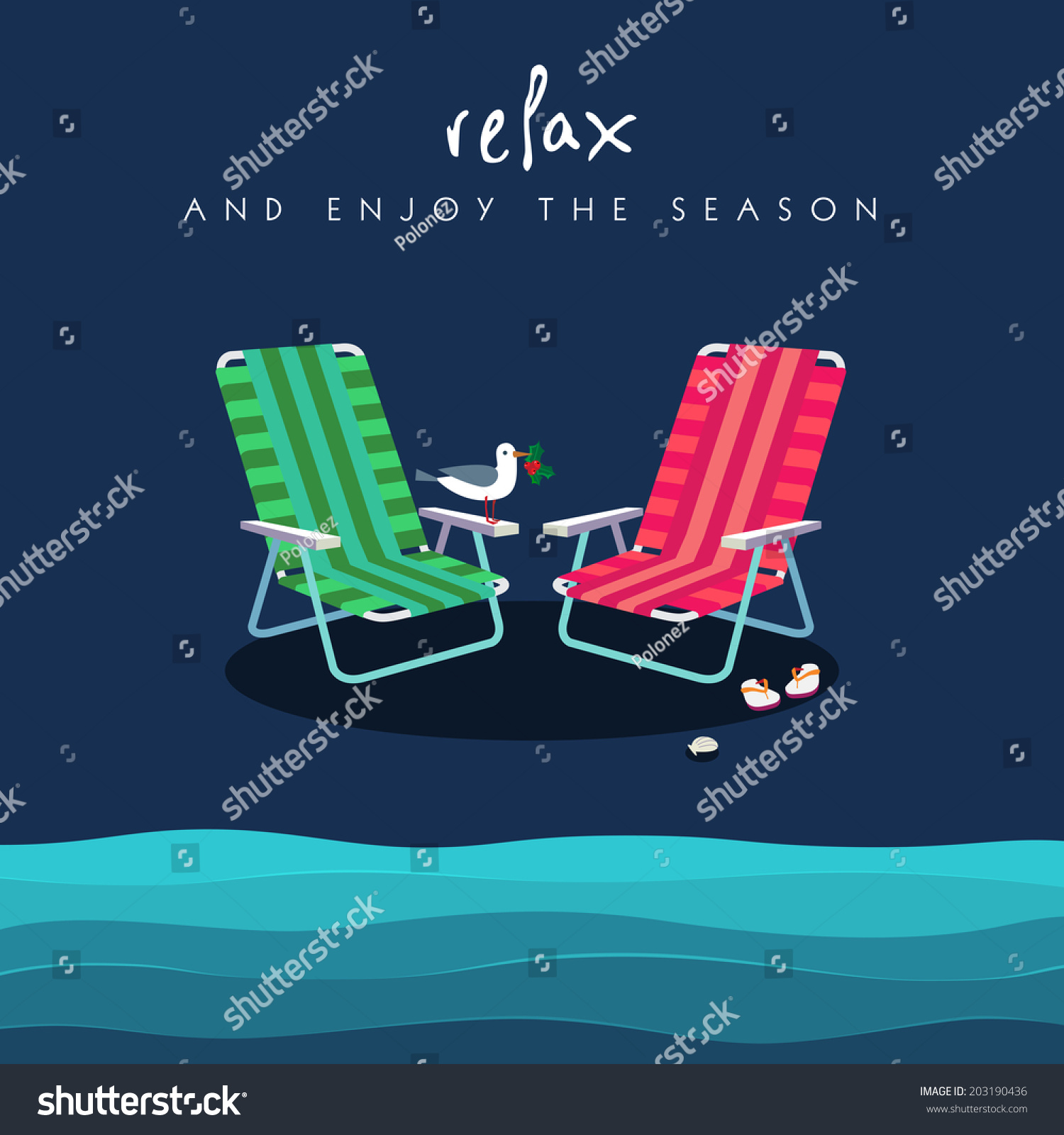 Flip Flop Chair Two Beach Chairs Red Green Colors Stock Vector 203190436