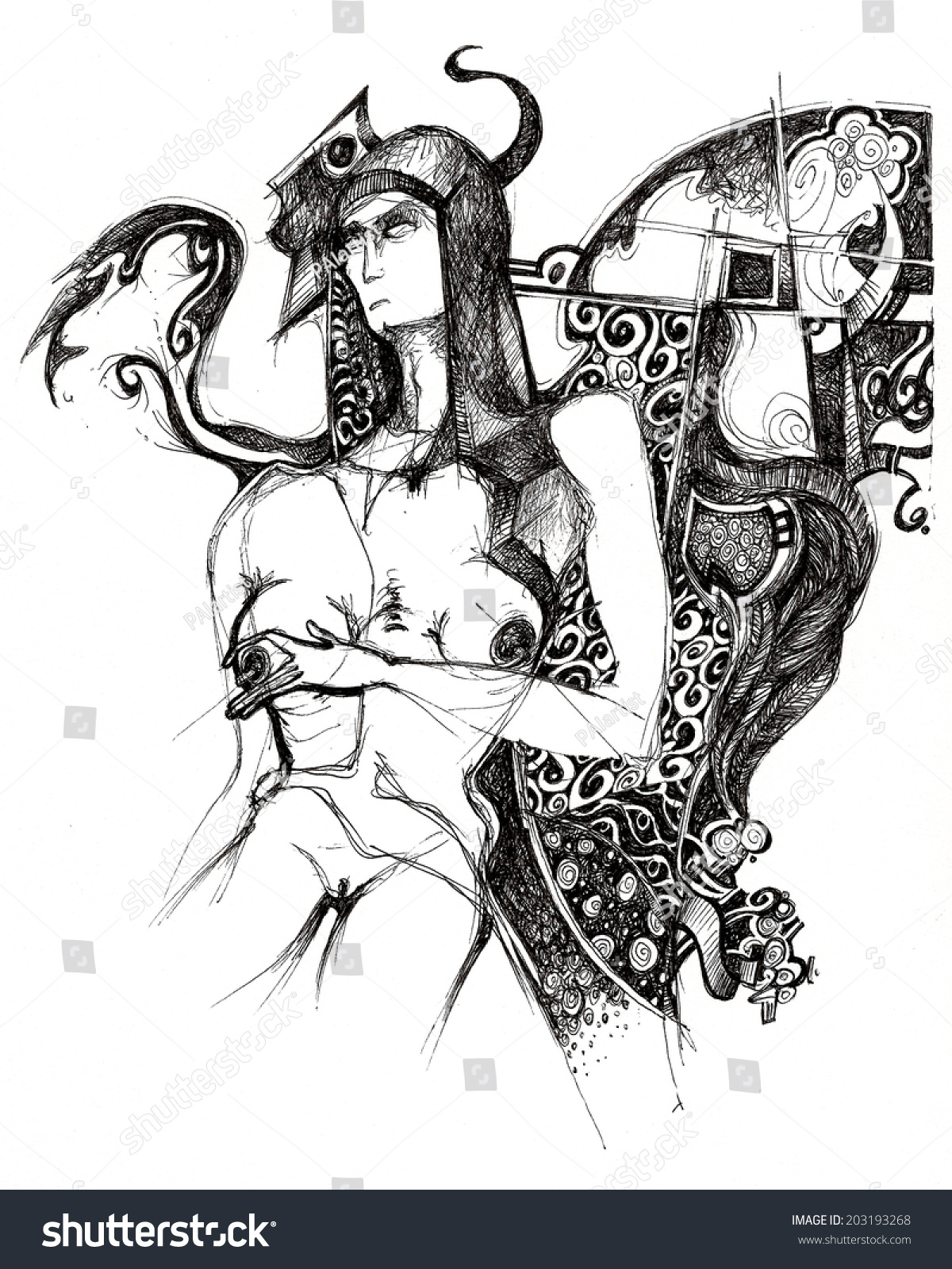 Naked woman angel and demon symbolic dark angel scan of drawing