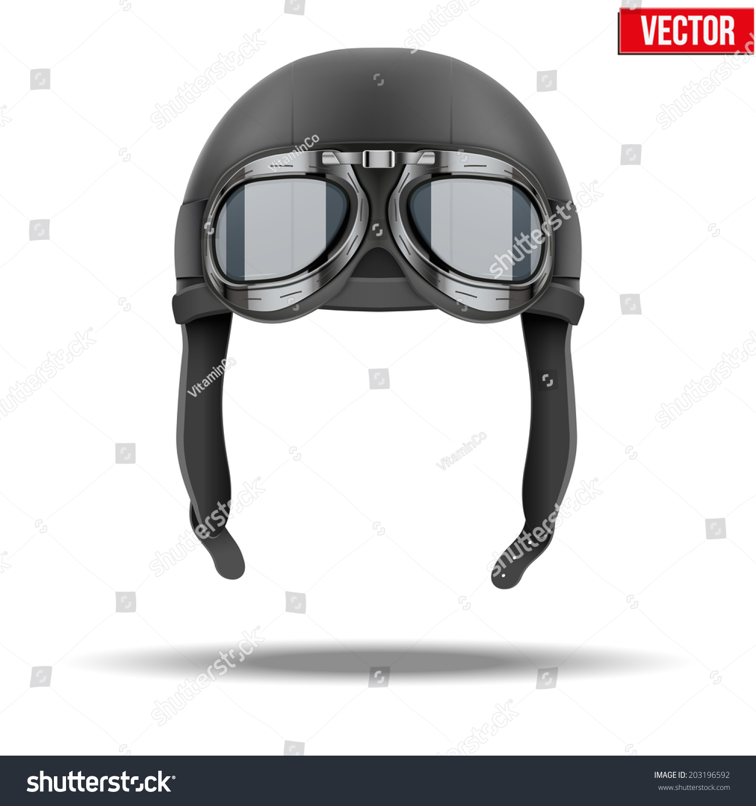 retro aviator pilot leather helmet goggles stock vector 203196592 shutterstock. Black Bedroom Furniture Sets. Home Design Ideas
