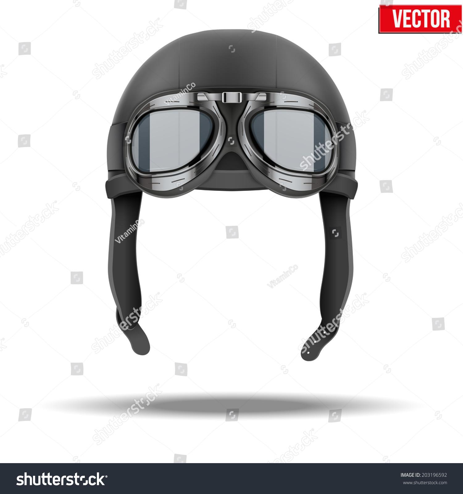 retro aviator pilot leather helmet goggles stock vector 203196592 shutterstock. Black Bedroom Furniture Sets. Home Design Ideas