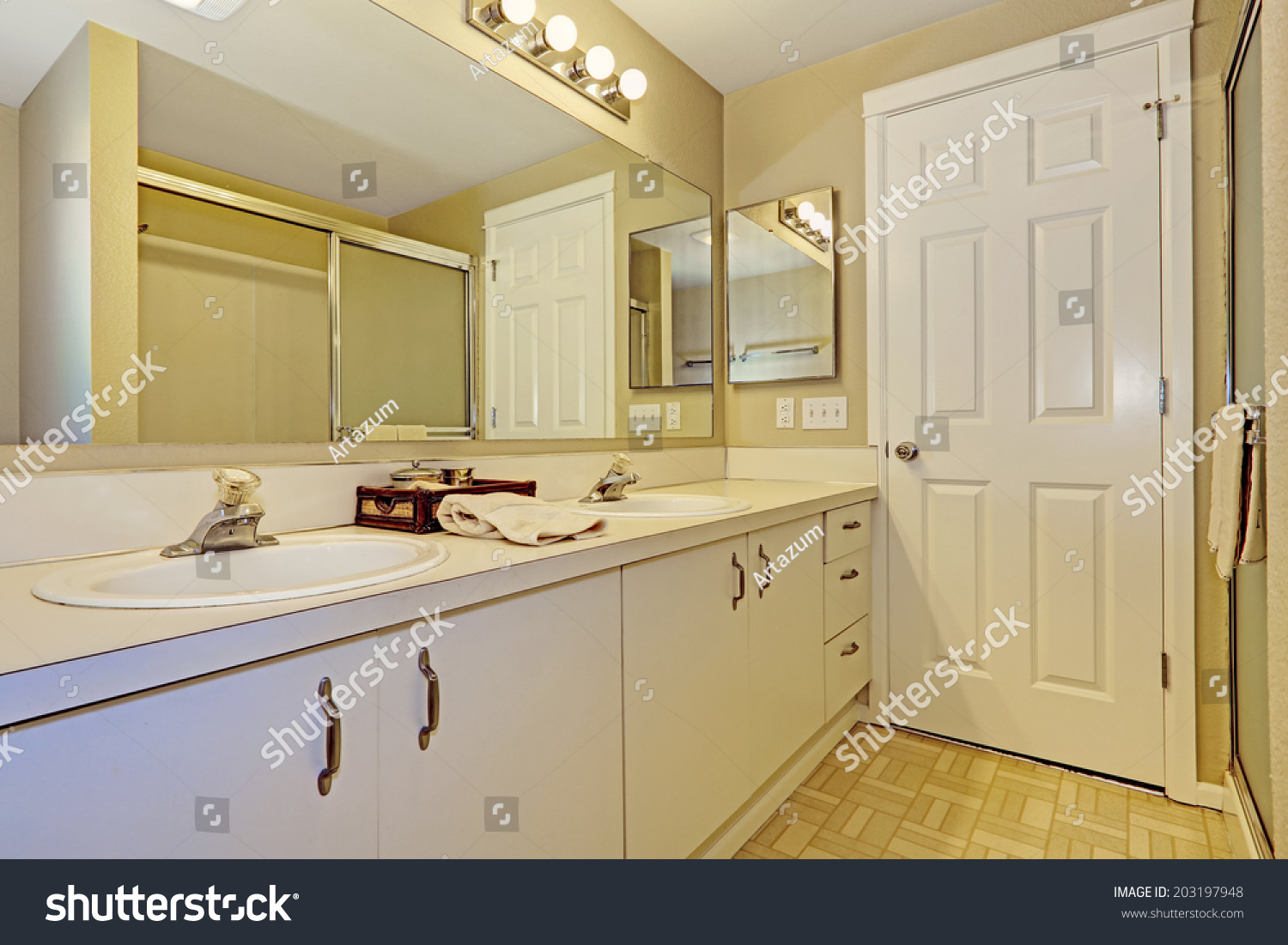 Simple Bathroom Interior White Cabinets Big Stock Photo 203197948 Shutterstock