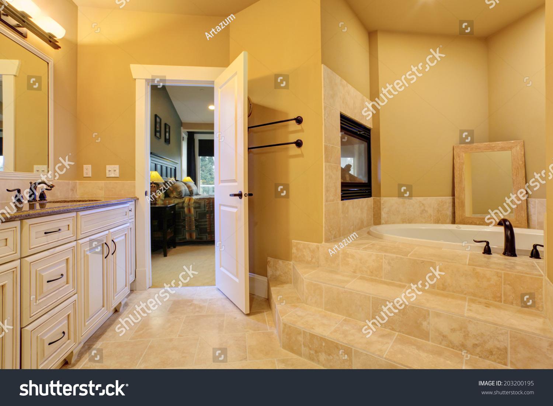 master bedroom bathroom view bath tubs stock photo