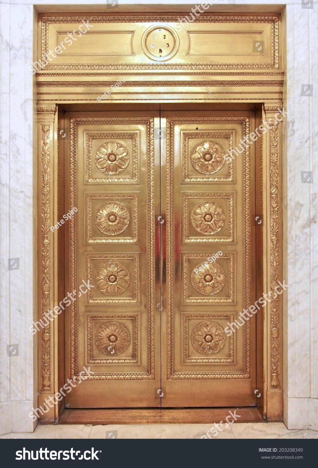 Old Fashioned Brass Elevator Door Stock Photo 203208349