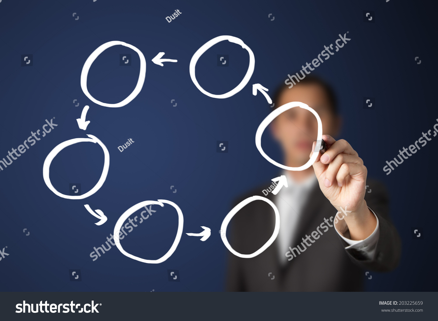 Business Man Writing Blank Cycle Diagram Stock Photo