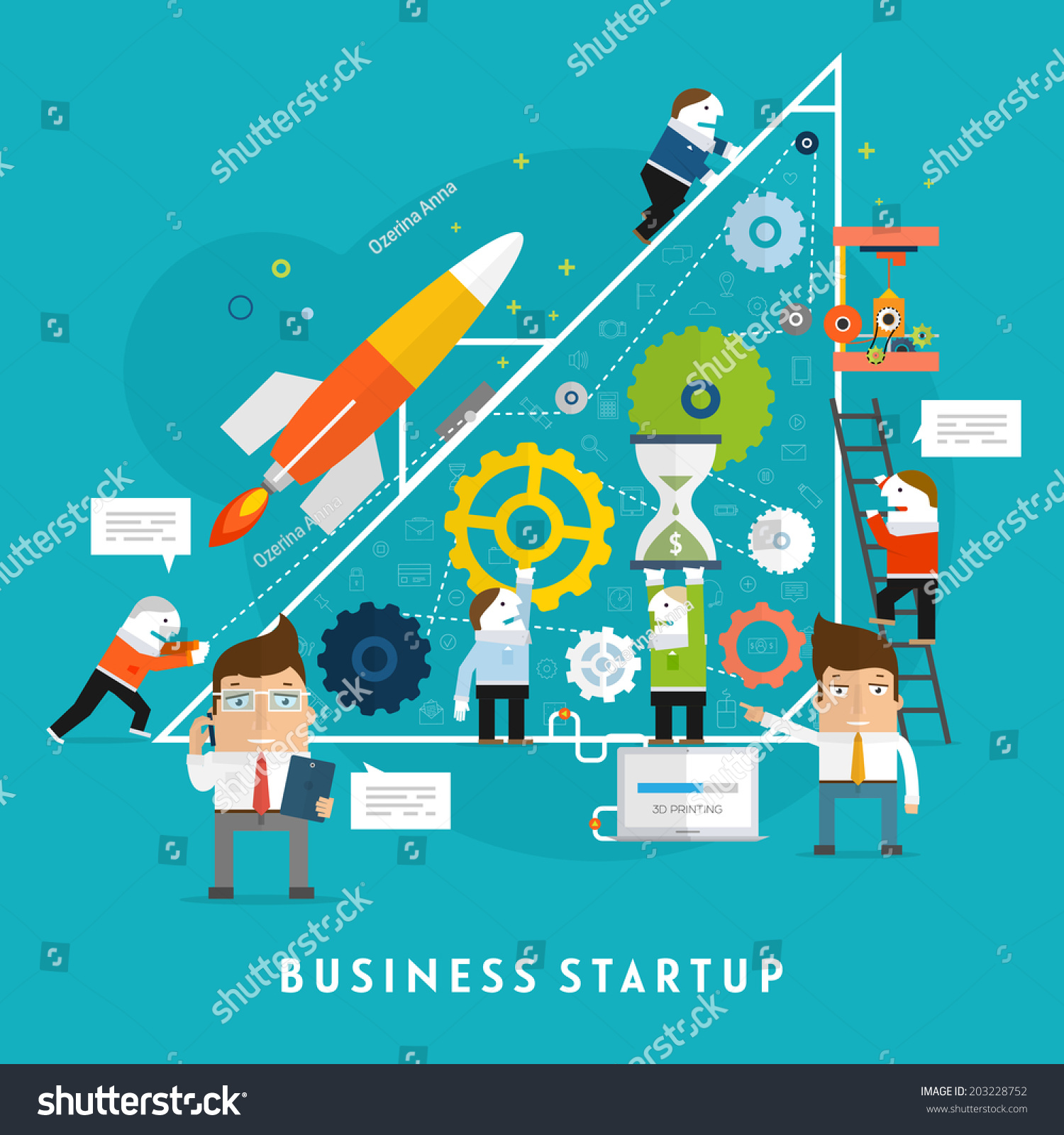 Business Startup Vector Illustration  Flat Style Design  Mobile  Technologies  Time and Money Management. Business Startup Vector Illustration Flat Style Stock Vector