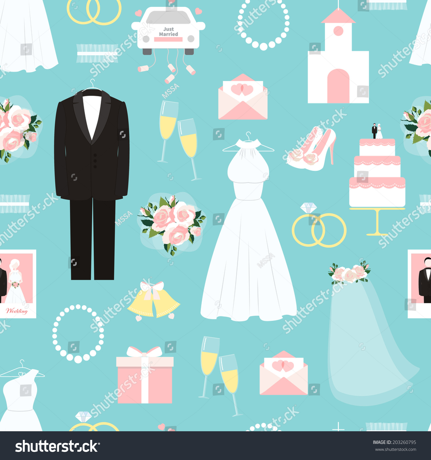 Wedding Seamless Background Pattern On Pretty Stock Vector 203260795 ...